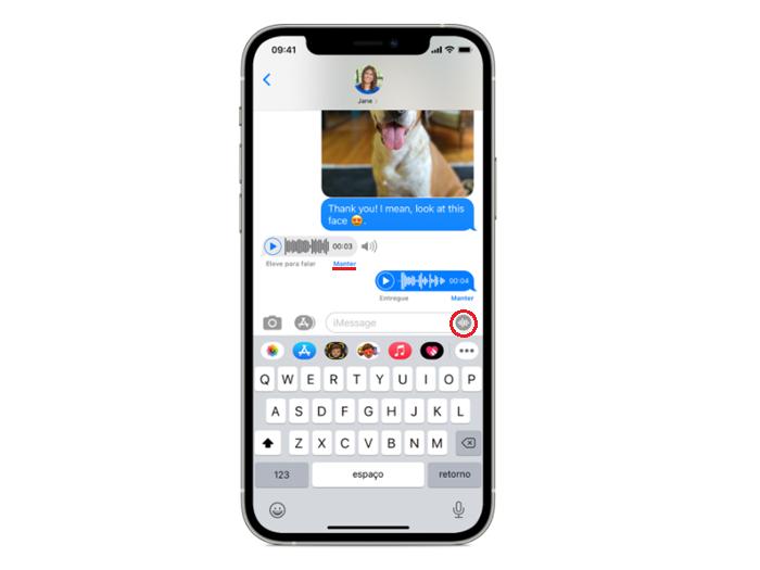 """Toque em """"Manter"""", abaixo da mensagem de áudio (Imagem: Divulgação/Apple)"""