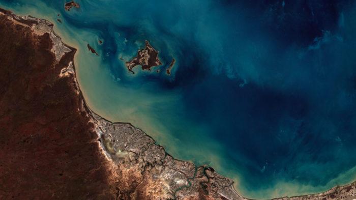 Imagem de Burketown, na Austrália, captada pelo Amazonia 1 no dia 12 de maio de 2021 (Imagem: Agência Espacial Brasileira/ Divulgação)