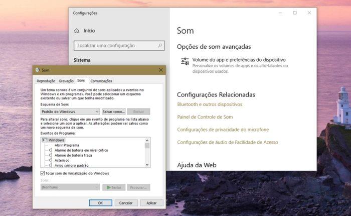 Ativando som de inicialização no Windows 10 (imagem: Emerson Alecrim/Tecnoblog)
