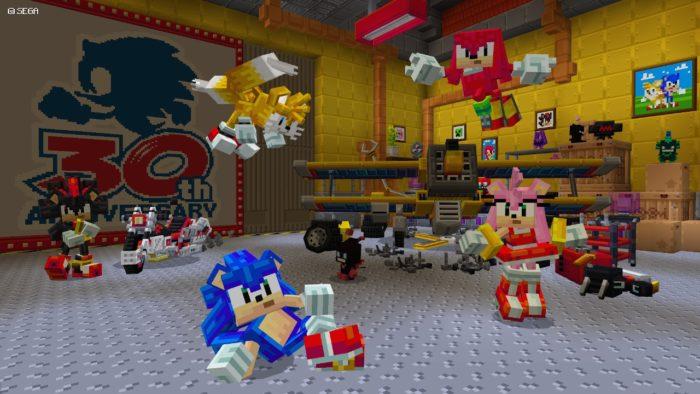 Sonic está em Minecraft (Imagem: Divulgação/Microsoft)