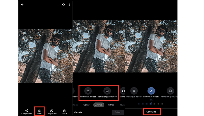 Processo para tirar o embaçado ou ruído no Google Fotos (Imagem: Reprodução/Google Fotos)