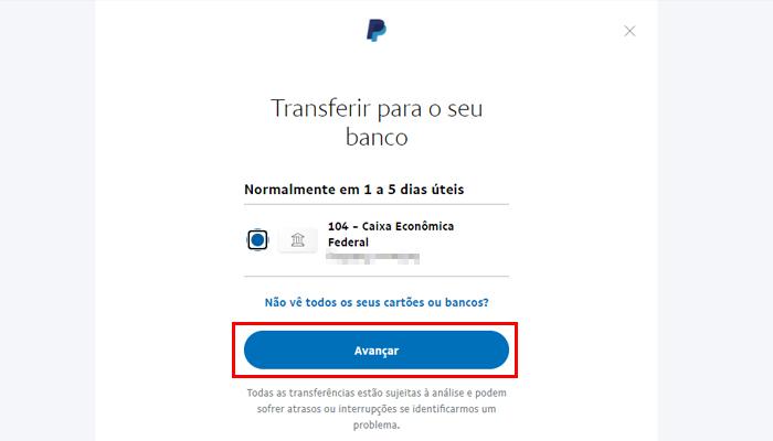 Processo para transferir dinheiro do PayPal para a conta bancária (Imagem: Reprodução/PayPal)