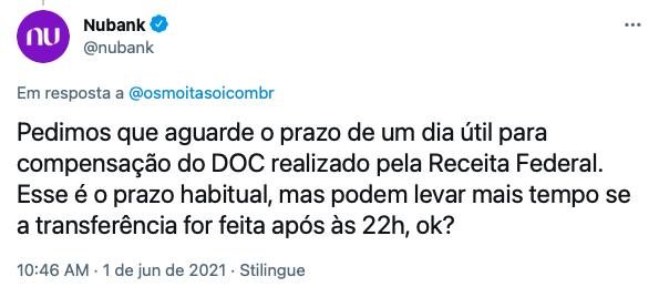 Resposta do Nubank em relato de cliente sobre o pagamento da restituição do Imposto de Renda (Imagem: Reprodução/Twitter)