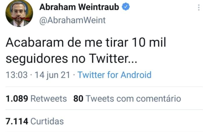 Abraham Weintraub reclama por perder seguidores no Twitter (Imagem: Reprodução/Twitter)