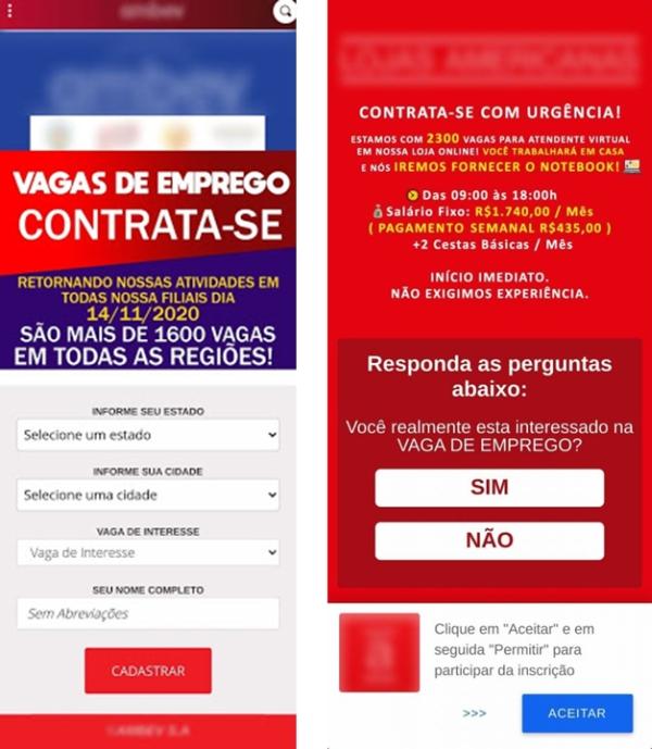 Exemplos de vagas falsas de emprego (imagem: divulgação/PSafe)