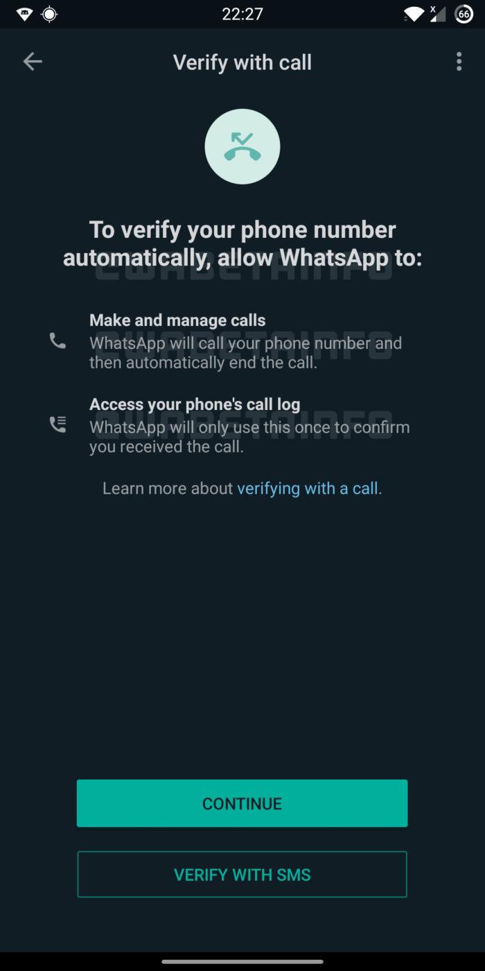 WhatsApp prepara nova alternativa para confirmar número de telefone (Imagem: Reprodução/WABetaInfo)