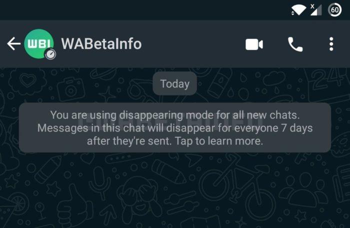 Notificação do WhatsApp ao ativar o modo de desaparecimento (Imagem: Reprodução/WABetaInfo)