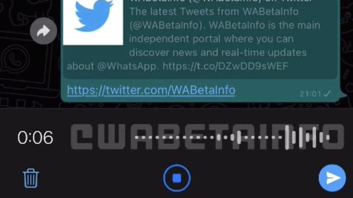 WhatsApp testa nova interface para mensagens de áudio (Imagem: reprodução/wabetainfo)