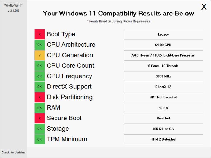 WhyNotWin11 dá mais informações sobre incompatibilidade do Windows 11