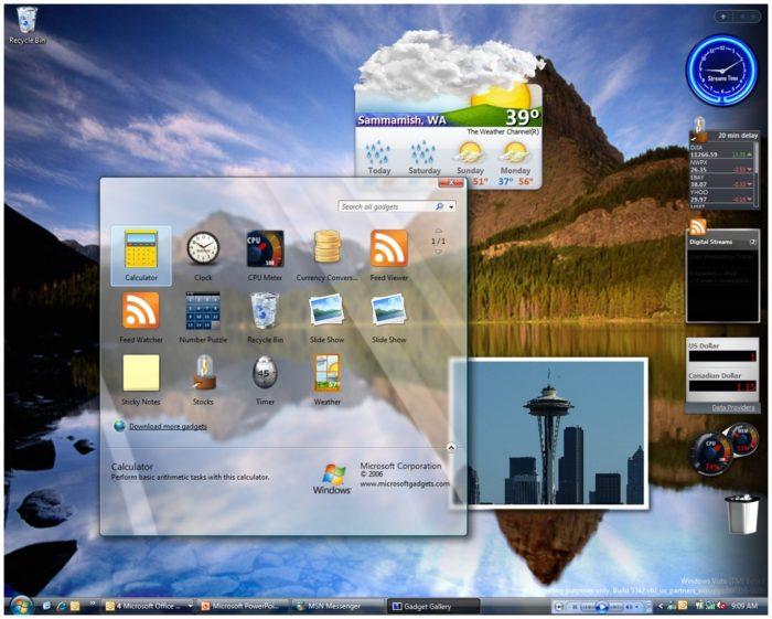Widgets no Windows Vista (imagem: Twitter/BetaCollector)