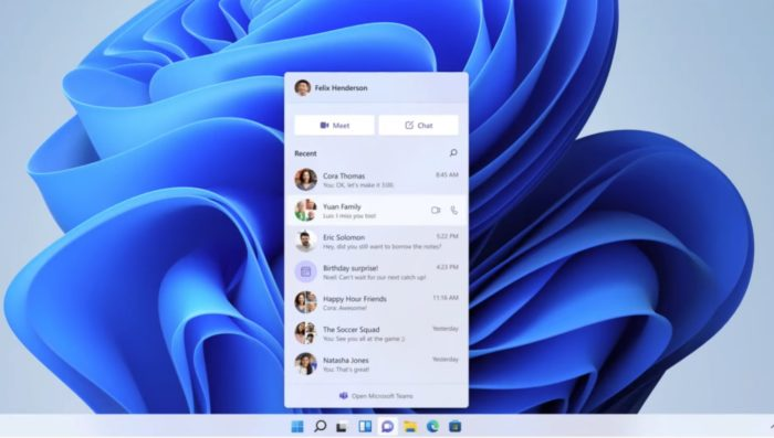 Microsoft Teams é integrado ao Windows 11 (Imagem: Divulgação / Microsoft)