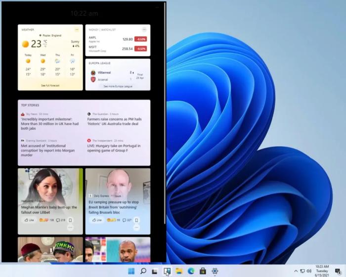 Widgets no Windows 11 (Imagem: Reprodução/The Verge)