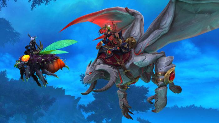 Jogadores poderão voar nas Terras Sombiras no patch 9.1 de WoW Shadowlands (Imagem: Divulgação/Blizzard)