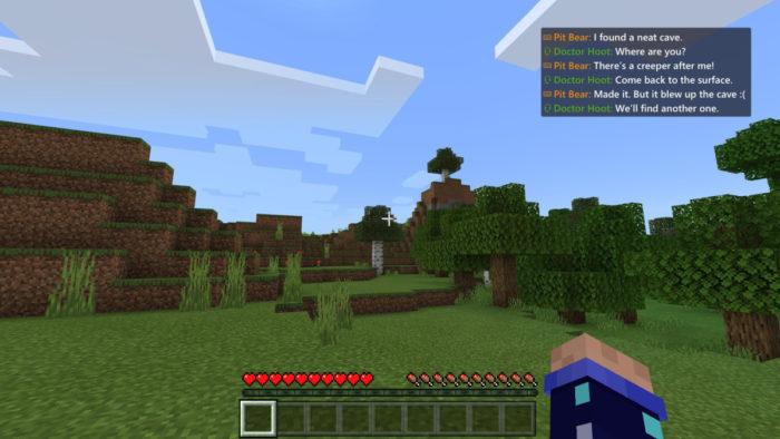 Exemplo de transcrição de voz no MInecraft de Xbox (Imagem: Divulgação/Xbox)