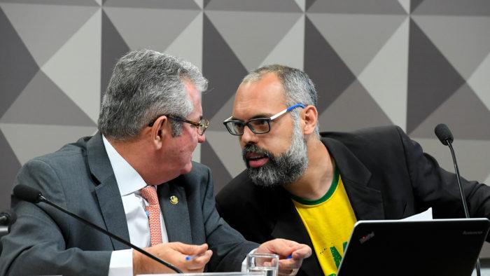 O blogueiro Allan dos Santos fala à CPI das Fake News (Imagem: Roque de Sá - Agência Senado/ Flickr)