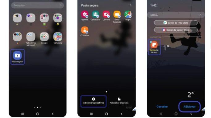 Baixe aplicativos diretamente na Pasta Segura (Imagem: Divulgação/Samsung)