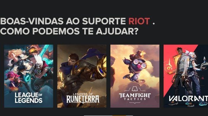 A página é dividida por jogos (Imagem: Riot Games/Divulgação)