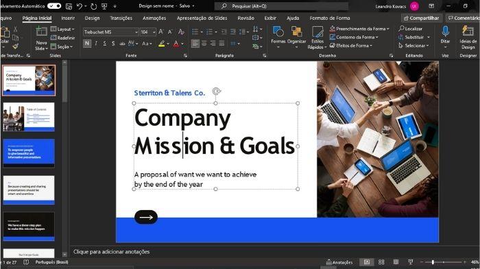A conversão permite edição da apresentação no PowerPoint (Imagem: Leandro Kovacs/Reprodução)