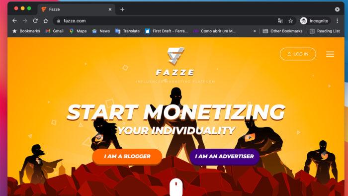 Homepage da Fazze (Imagem: Reprodução)