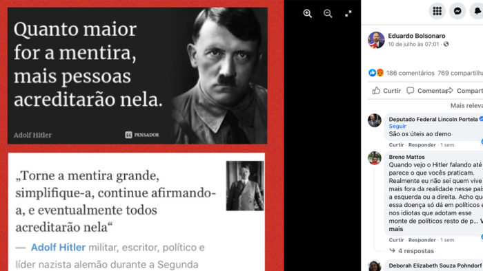 Print do post Eduardo Bolsonaro que cita Hitler (Imagem: Reprodução)