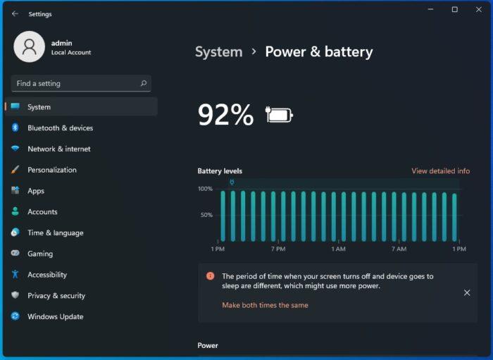 Configurações de bateria no Windows 11 (Imagem: Reprodução/Windows Latest)