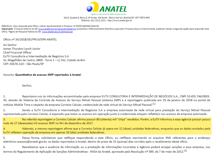 Anatel's official letter questioning EuTV (Surf Telecom) about reported accesses