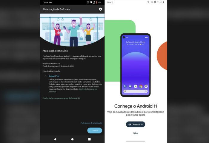 Atualização do <a href='https://meuspy.com/tag/Espiao-para-Android-gratis'>Android</a> 11 para o Moto G9 Play (Imagens: Reprodução/Twitter)