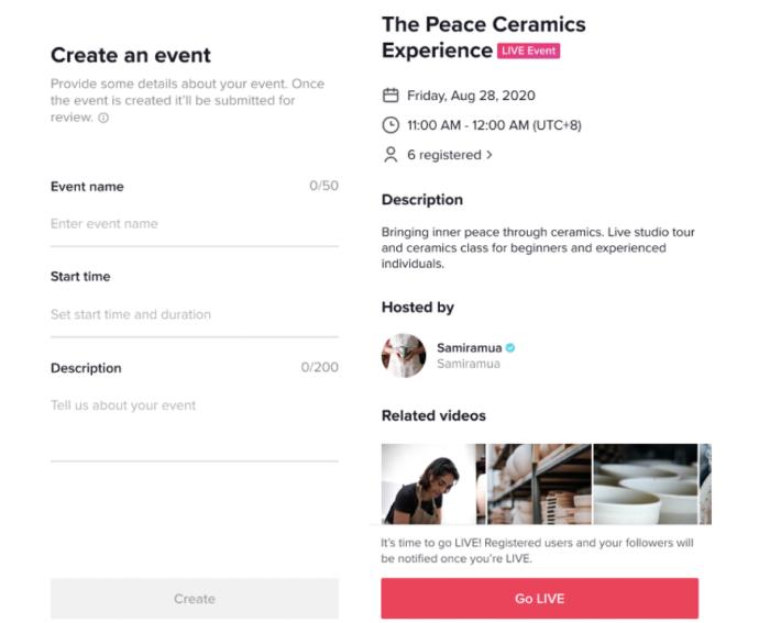 Os LIVE Events do TikTok permitem que criadores agendem eventos ao vivo e traz ferramentas de divulgação (Imagem: Divulgação)