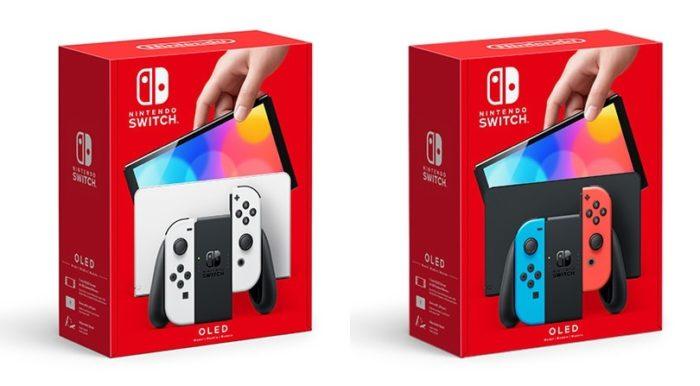Caixas e cores dos novos Switch OLED (Imagem: Divulgação/Nintendo)