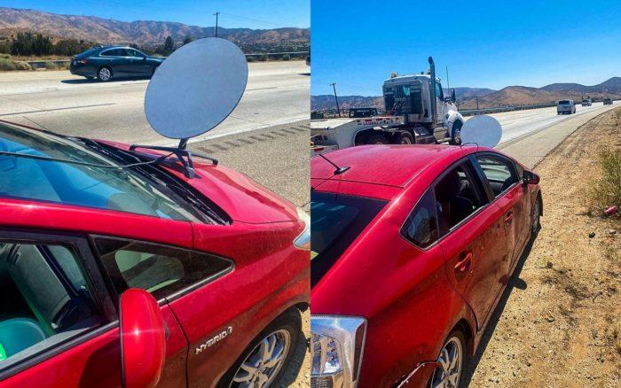 Antena da Starlink em um Toyota Prius (Imagem: CHP - Antelope Valley / Facebook)