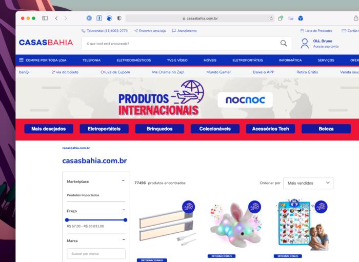 Catálogo de produtos importados no site das Casas Bahia (Imagem: Reprodução/Tecnoblog)