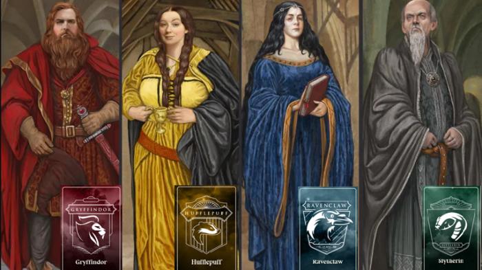 Casas de Hogwarts e seus fundadores (Imagem: Reprodução/Wizarding World)