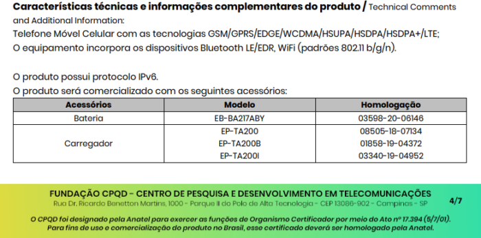 Certificado de conformidade técnica do Galaxy A12s menciona bateria de 5.000 mAh (Imagem: Reprodução)