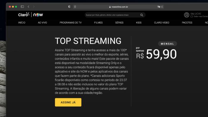 Claro Top Streaming tem mais de 100 canais e custa R$ 59,90 por mês