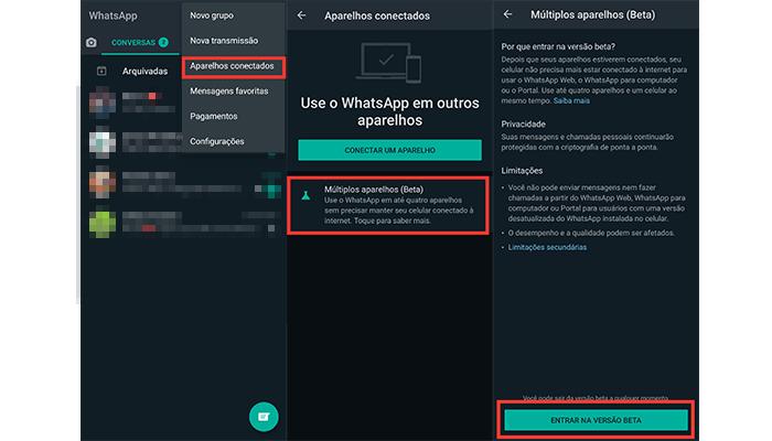 Processo para ativar o recurso de múltiplos aparelhos no WhatsApp para Android (Imagem: Reprodução/WhatsApp)