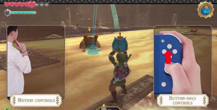 Controles em The Legend of Zelda: Skyward Sword HD (Imagem: Divulgação/Nintendo)