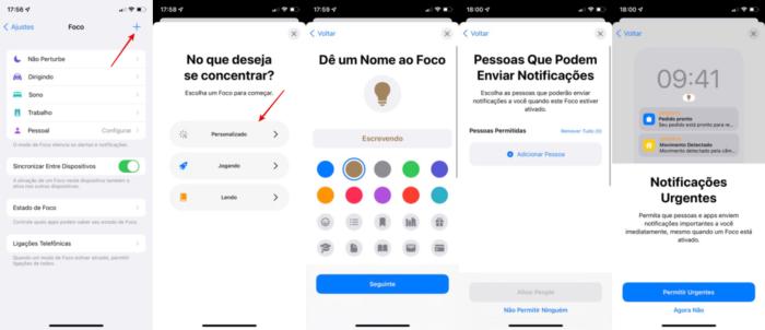 Criar novo modo de Foco no iPhone com iOS 15 (Imagem: Reprodução/Apple)