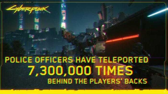 """Meme com conquista de Cyberpunk 2077 dizendo """"Policiais se teleportaram 7,3 milhões de vezes para as costas dos jogadores"""" (Imagem: Reprodução/Reddit Cyberpunk 2077)"""