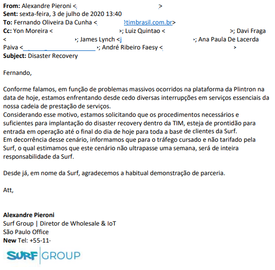 E-mail da Surf para TIM sobre solução de Disaster Recovery