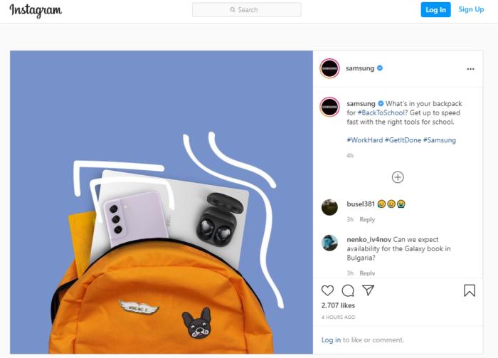 Samsung publica foto com Galaxy S21 FE no Instagram (Imagem: Reprodução/9to5Google)