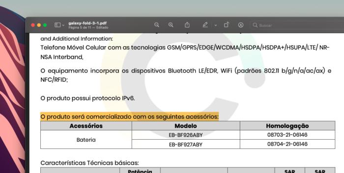 Certificado de conformidade de Galaxy Z Fold 3 (imagem) e Galaxy Z Flip 3 não mencionam carregador e fones de ouvido (Imagem: Reprodução/Tecnoblog)