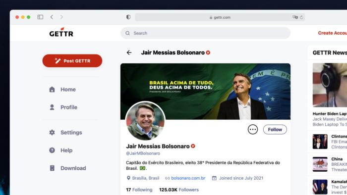 Presidente Jair Bolsonaro na rede social Gettr (Imagem: Reprodução)