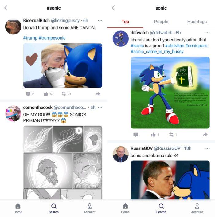 Donald Trump e Barack Obama aparecem junto ao Sonic em memes na Gettr (Imagem: Reprodução / Kotaku)