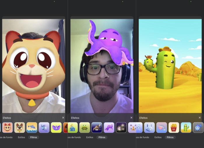 Filtros no Google Meet para iPhone (iOS) (Imagem: Reprodução/Tecnoblog)