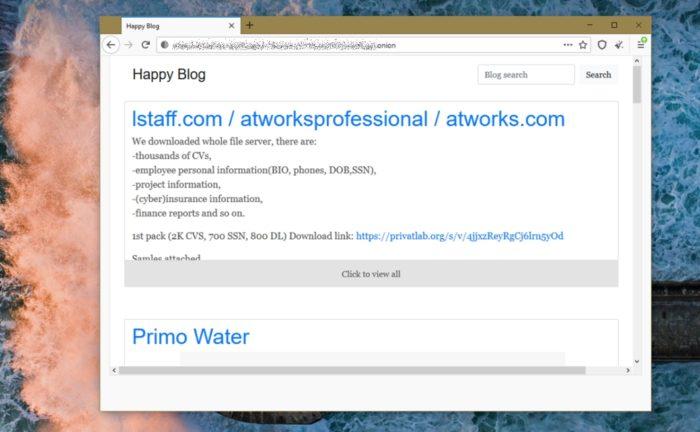 Happy Blog, site do REvil na dark web usado para publicar amostras de ataques (imagem: Emerson Alecrim/Tecnoblog)