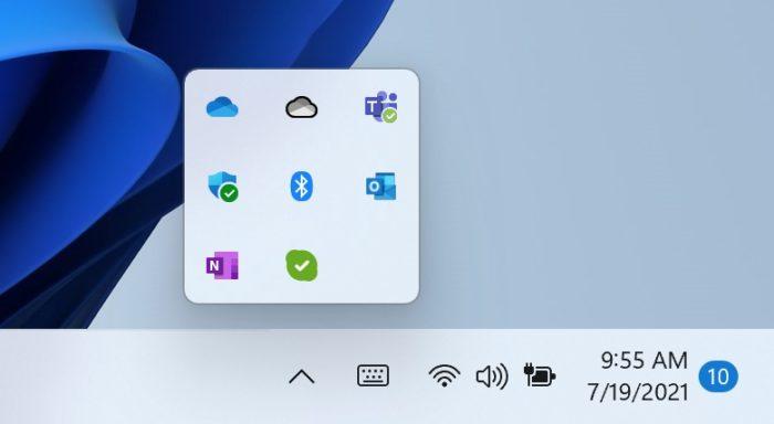 Novos ícones ocultos na barra de tarefas (imagem: divulgação/Microsoft)