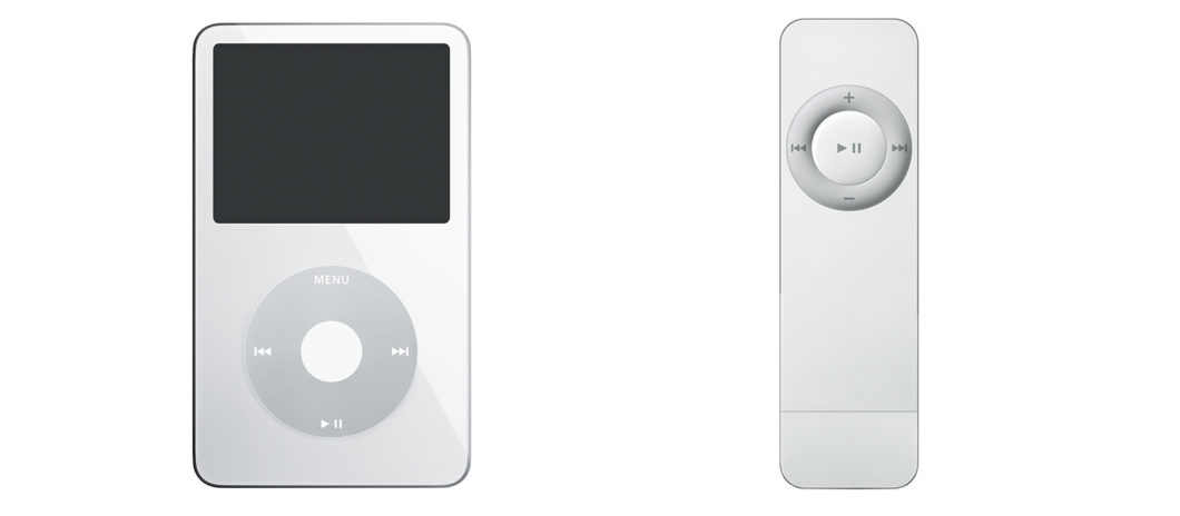 iPod Video on the left and iPod shuffle on the right (Image: Press/Apple)