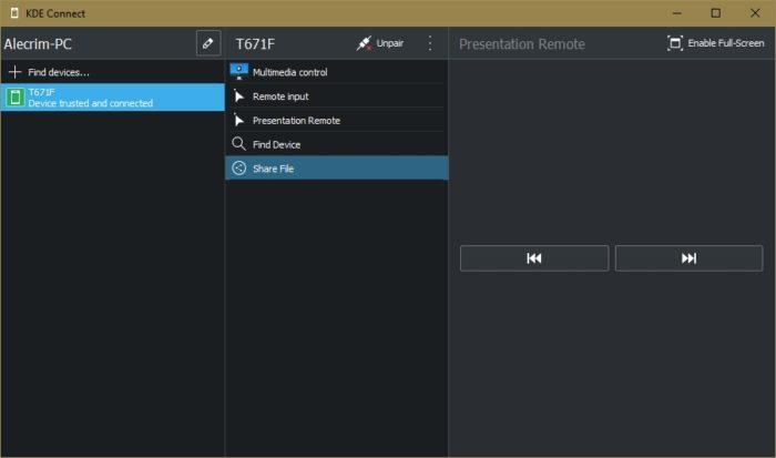 KDE Connect no Windows (imagem: Emerson Alecrim/Tecnoblog)