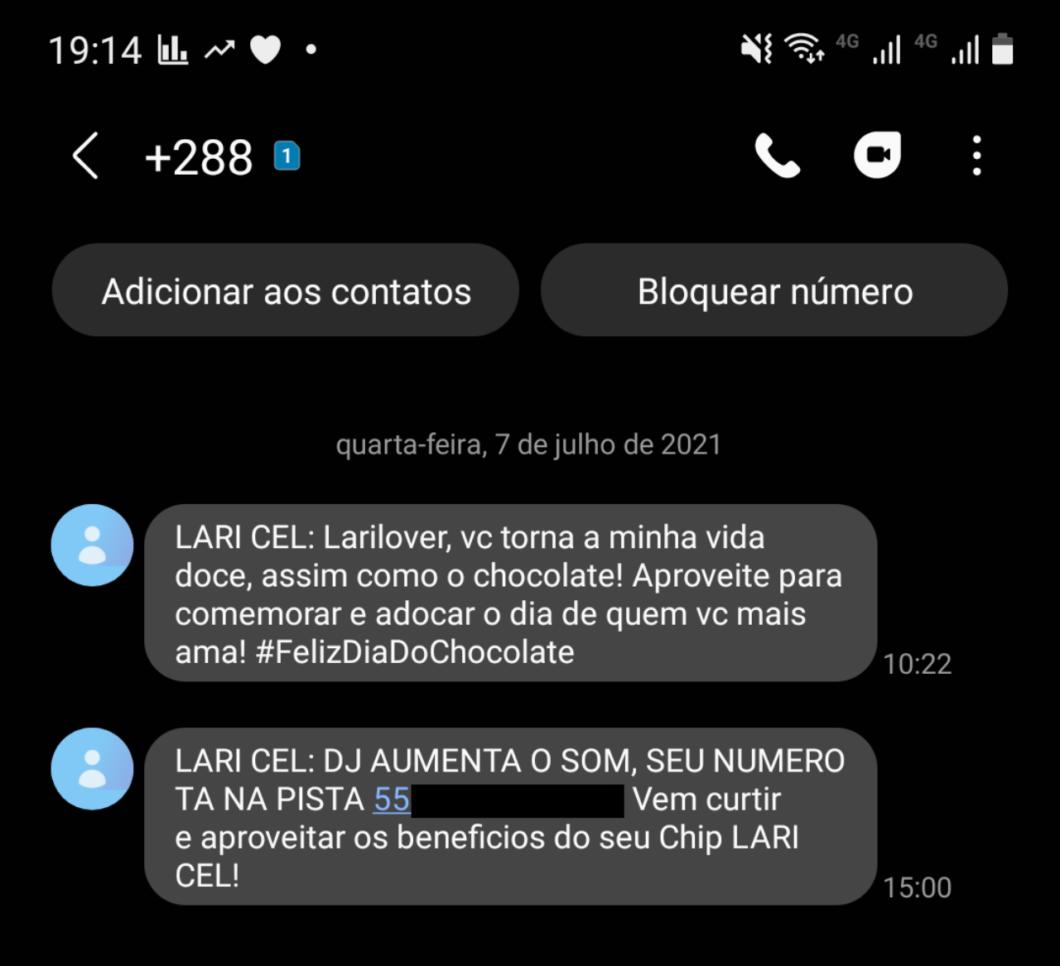 SMS sent by Lari Cel