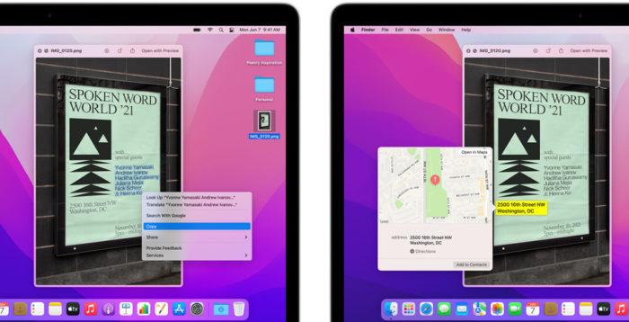 Live Text no macOS Monterey (Imagem: Divulgação/Apple)